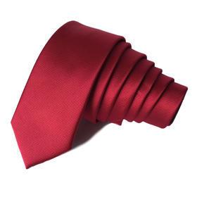 Kravata Slim hedvábná tmavá červená s pruhy
