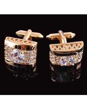 Manžetové knoflíčky luxusní zirkon zlatý