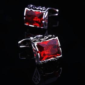 Manžetové knoflíčky červený krystal velký