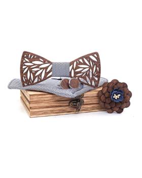 Dřevěné manžetové knoflíčky s motýlkem Veles M021