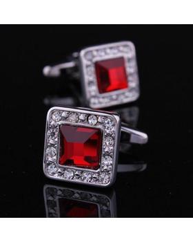 Manžetové knoflíčky rudý krystal