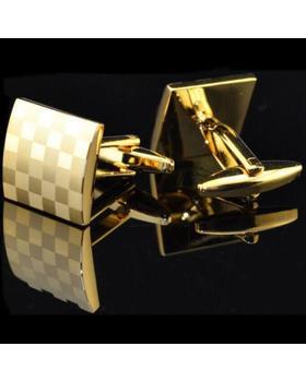 Manžetové knoflíčky zlatá šachovnice