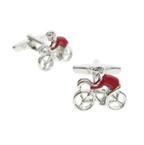 Manžetové knoflíčky červený cyklista