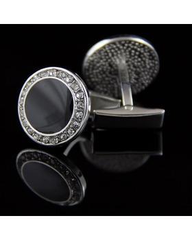 Manžetové knoflíčky kulatý černý krystal s kamínky ocel