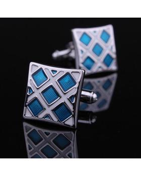 Manžetové knoflíčky modro-stříbrné