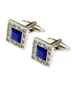 Manžetové knoflíčky modrý krystal s kamínky po okraji