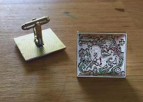 Manžetové knoflíčky sv. Jiří a drak - ocelová