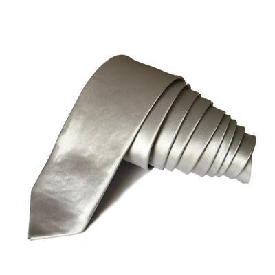 Kravata Slim hedvábná šedá světlá