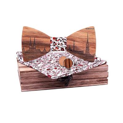 Dřevěné manžetové knoflíčky s motýlkem Bordeaux