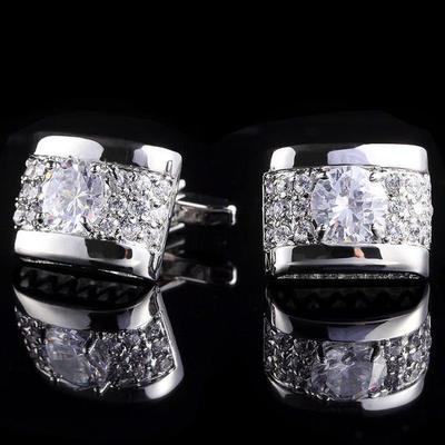 Manžetové knoflíčky luxusní zirkon stříbrný