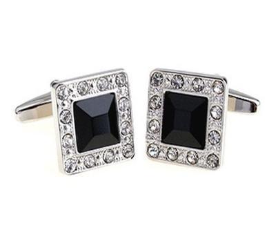 Manžetové knoflíčky černý krystal - 1