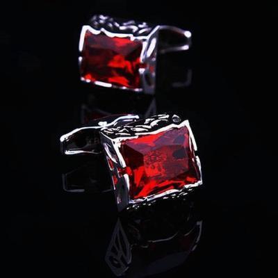 Manžetové knoflíčky červený krystal velký - 1