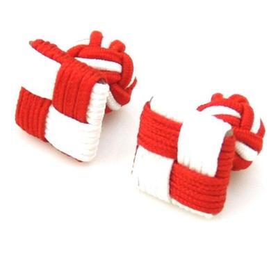 Manžetové knoflíčky elastické červenobílé