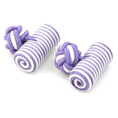 Manžetové knoflíčky elastické fialovobílé