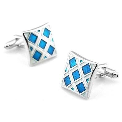 Manžetové knoflíčky modré čtverečky - 1