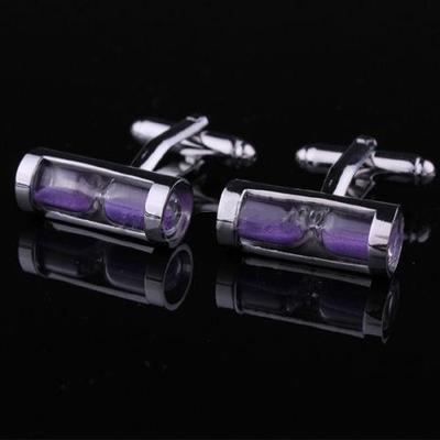Manžetové knoflíčky přesýpací hodiny fialové