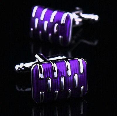 Manžetové knoflíčky svatební fialové - 1