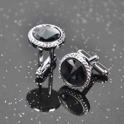 Manžetové knoflíčky velký černý krystal