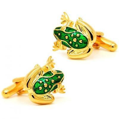 Manžetové knoflíčky žabka zlatá - 1