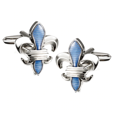 Manžetové knoflíčky Lepton Blue Fleur De Lis - 1