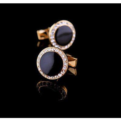 Manžetové knoflíčky kulatý černý krystal s velkými kamínky