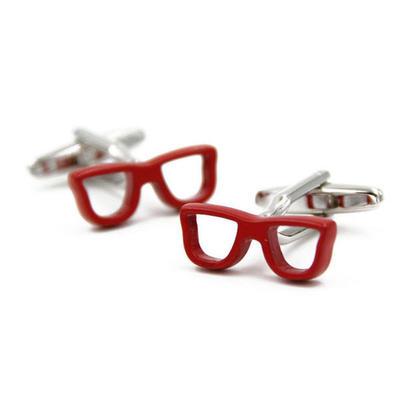 Manžetové knoflíčky červené brýle