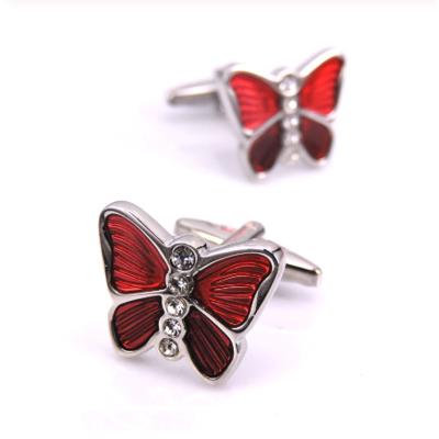 Manžetové knoflíčky červený motýl