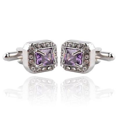 Manžetové knoflíčky velký fialový krystal