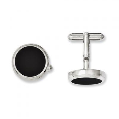 Manžetové knoflíčky černý kruh - 2