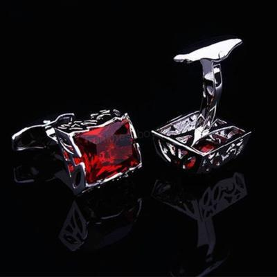 Manžetové knoflíčky červený krystal velký - 2