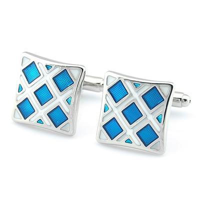 Manžetové knoflíčky modré čtverečky - 2