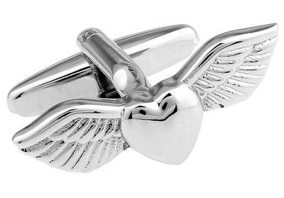 Manžetové knoflíčky srdce s křídly - 2
