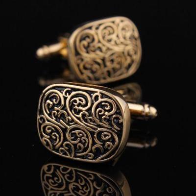 Manžetové knoflíčky římský vzor zlatý - 3